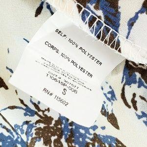 Lush Tops - Lush // Cream & Blue Floral Flowy Halter Top